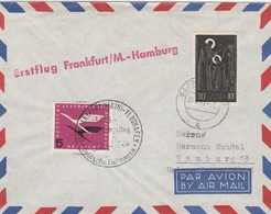 1956 - Erstflug Frankfurt Hamburg Lufthansa - Saar Saarbrucken - 1er Vol Inaugural Flight - Brieven En Documenten