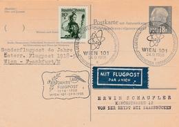 Wien 101 1958 - Atom AIEA - 40 Jahre Flugpost AUA Wien Frankfurt - Saar - 1945-60 Brieven