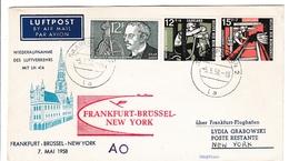 Erstflug Frankfurt Brussel New York 1958 - Saarbrucken Saar - Brieven En Documenten