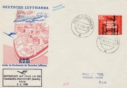 Erstflug Hamburg Frankfurt Rom Roma Rome 1958 - Mettlach Saar - Lufthansa - Brieven En Documenten