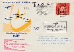 Erstflug Hamburg Frankfurt Brussel New York 1958 - Saarbrucken Saar - Lufthansa - Kleingutdienst - Brieven En Documenten
