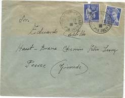 PAIX 90C F  ESPANA + MERCURE 10C LETTRE (jaunie) CAMP ST CYPRIEN PLAGE 1939 PYR ORles POUR PESSAC - Marcophilie (Lettres)