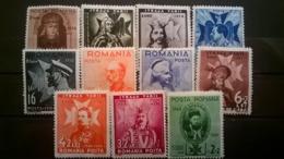 FRANCOBOLLI STAMPS ROMANIA ROUMANIE 1938 MLH NUOVI SERIE COMPLETA ACCESSION CAROL'S LINGUELLA - 1918-1948 Ferdinand, Charles II & Michael