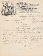 Etats Unis  Lettre Illustrée 11/1/1907 Ernst GERSTENBERG Hotel Restaurant Imported Whiskies Cigars WASHINGTON - Etats-Unis