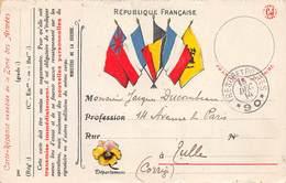 A-19-1600 : CARTE DE FRANCHISE MILITAIRE. CARTE DRAPEAUX. AVEC CACHET TRESOR ET POSTES.N° 90. - Marcophilie (Lettres)