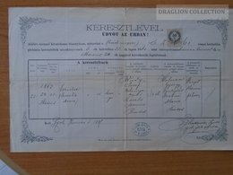 ZA172.9 Old Document - Hungary-  SZOB - Puchler -1887 - Naissance & Baptême