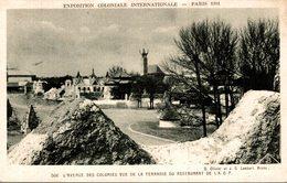 EXPOSITION COLONIALE INTERNATIONALE PARIS 1931  L'AVENUE DES COLONIES VUE DE LA TERRASSE DU RESTAURANT DE L'A.O.F. - Exposiciones