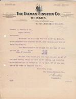 Etats Unis Facture Lettre Illustrée Chat Noir 25/4/1906 The ULLMAN EINSTEIN Co Whiskies CLEVELAND - Black Cat Whisky - United States