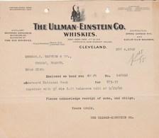 Etats Unis Facture Lettre Illustrée Chat Noir 4/11/1909 The ULLMAN EINSTEIN Co Whiskies CLEVELAND - Black Cat Whisky - Etats-Unis