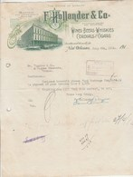 Etats Unis Facture Lettre Illustrée 8/6/1912 HOLLANDER Wines Beers Whiskies Cordials Cigars NEW ORLEANS - Cigares Whisky - United States