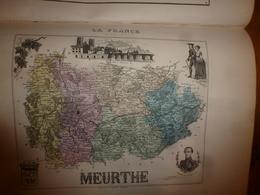 1880 MEURTHE (Nancy,Château-Salins,Sarrebourg,etc) Carte Géographique-Descriptive:grav. Taille Douce-Migeon,géographe. - Geographische Kaarten
