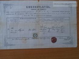 ZA172.13 Old Document - Slovakia  -  Okoličná Na Ostrove  EKEL - 1882  Tóth Aloysia - Mladoniczky - Naissance & Baptême