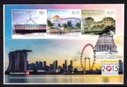 New Zealand 2015 Singapore Exhibition Joint Issue Minisheet Used - New Zealand