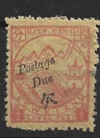 894 CHINA KEWKIANG POSTAGE DUE -1/2c Red On Yellow UNUSED CHAN LKD8 $22 - Chine