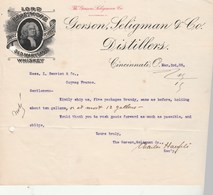 Etats Unis Facture Lettre Illustrée Lord Baltimore Old Maryland Whiskey 3/3/1905 GERSON SELIGMAN CINCINNATI - United States