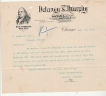 Etats Unis Facture Lettre Illustrée Ben Franklin Old Rye 28/2/1909 DELANEY & MURPHY Importers Distillers CHICAGO - Etats-Unis