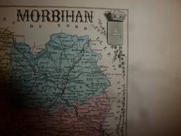 1880 MORBIHAN (Vannes,Lorient,Ploermel,Pontivy,etc) Carte Géographique-Descriptive:grav.taille Douce-Migeon,géographe. - Cartes Géographiques