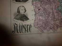 1880 NIEVRE (Nevers,Château-Chinon,Clamecy,Cosne,etc) Carte Géographique-Descriptive:grav.taille Douce-Migeon,géographe - Cartes Géographiques