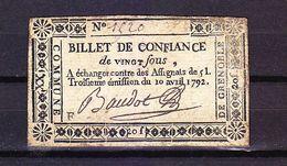 FRANCE MONNAIE BILLET DE CONFIANCE COMMUNE DE GRENOBLE 38 ISÈRE - Assignats & Mandats Territoriaux
