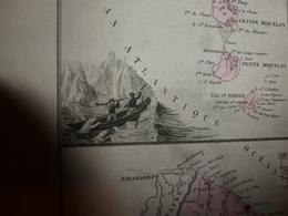 1880 GUYANE-TAÏTI-MARQUISES-St-PIERRE-MIQUELON-Ste-MARIE,NOSSI-BE,etc  Carte Géo-Descriptive:Migeon,géographe - Geographische Kaarten