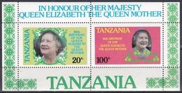 Tansania Tanzania 1985 Geschichte Persönlichkeiten Königshäuser Royals Königinmutter Elisabeth Queen Mom, Bl. 42 ** - Tansania (1964-...)