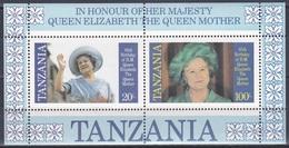 Tansania Tanzania 1985 Geschichte Persönlichkeiten Königshäuser Royals Königinmutter Elisabeth Queen Mom, Bl. 43 ** - Tansania (1964-...)
