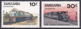 Tansania Tanzania 1985 Transport Eisenbahnen Railways Lokomotiven Trains DE1001 Dampflokomotiven, Mi. 284-5 ** - Tansania (1964-...)