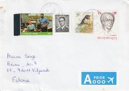 GOOD BELGIUM Postal Cover To ESTONIA 2012 - Good Stamped: Persons ; Bird ; Cinema - Belgium
