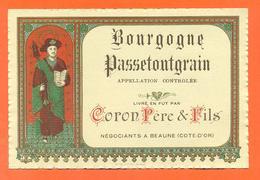 étiquette De Vin De Bourgogne Passetoutgrain Coron Père Et Fils à Beaune - 75 Cl - Saint Vincent - Bourgogne