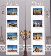 8 Timbres Neufs ** Collector En 2 Blocs Monuments De Paris Autoadhésifs Lettre Prioritaire - France