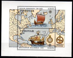 1992 Faroe Islands Europa CEPT America Discovery - MS Joints With Island - MS - MNH** Mi B 5 - Gemeinschaftsausgaben
