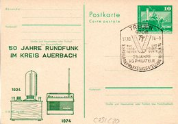 "DDR Amtl.Ganzsache M.priv.Zudruck""Neptunbrunnen,10Pf.grün""P79/C20 ""50 J. Rundfunk Im Kr. Auerbach"" SSt 17.10.74 TREUEN - [6] République Démocratique"