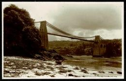 Ref 1263 - Judges Real Photo Postcard - Menai Suspension Bridge - Caernarvonshire Wales - Caernarvonshire
