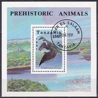 Tansania Tanzania 1991 Tiere Fauna Animals Dinosaurier Saurier Dinosaur Saurian Reptilien Rhamphorhynchus, Bl. 146 Gest. - Tansania (1964-...)