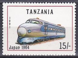 Tansania Tanzania 1991 Transport Eisenbahnen Railways Lokomotiven Trains Shinkansen, Mi. 1023 **. - Tansania (1964-...)