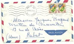 LETTRE PAR AVION AVEC PAIRE 0,15F BLASON POUR L'ETRANGER MAROC - Marcophilie (Lettres)