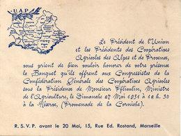 Invitation Au Banquet De L' U.A.P. Coopératives Agricoles Des Alpes Provence Le 27 Mai 1951 A Marseille (111442) - Faire-part