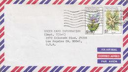 Trinidad & Tobago Air Mail SAN FERNANDO Trinidad 1994 Cover Lettre LOS ANGELES Etats Unis USA $1 & $1.50 Flowers Fleurs - Trinidad & Tobago (1962-...)
