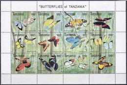 Tansania Tanzania 1993 Tiere Fauna Animals Schmetterlinge Butterflies Papillion Mariposa Farfalle, Mi. 1629-0 **. - Tansania (1964-...)