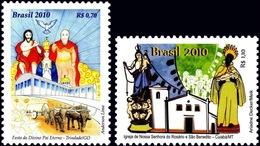 BRAZIL #3127-28  FOLKLORE - DIVINO FESTIVAL & CHURCH  OF OUR LADY  -  2010  MINT - Brazil