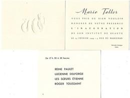 INVITATION MARIE TELLOR INAUGURATION INSTITUT DE BEAUTE RUE MARIGNAN PARIS 1944  2 SCANS - Produits De Beauté