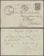 "INDOCHINE EP 10 C DE SAIGON 13/06/1896 ""LIGNE N PAQ.FR.N°9"" VERS BOHEME , PLIE (6G18538) DC-MV513 - Lettres & Documents"