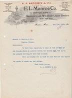 Etats Unis Facture Lettre Illustrée 7/8/1912 P J KENNEDY Ex LONROE Distillers Importers Liquors Whiskey Cordials BOSTON - Etats-Unis