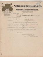Etats Unis Facture Lettre Illustrée 10/11/1911 HIRSCH Distilling Co Distillers Liquor Whisky Rye KANSAS CITY Mo - Etats-Unis