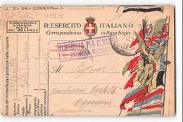 5338 01 FRANCHIGIA COMPAGNIA TELEGRAFISTI - CENSURA X CAVRIANA MANTOVA- CARTOLINA CON TAGLIO SPOSTATO - Posta Militare (PM)