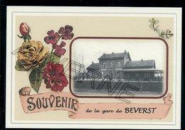 BEVERST  .....  2 Cartes Souvenirs Gare ... Train  Creations Modernes Série Limitée - Bilzen