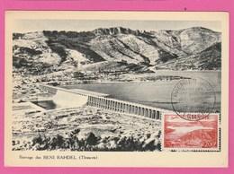 Algérie - Carte Maximum - Tlemcen Premier Jour - Barrage Des Beni Bahdel 1957 - Poste Aérienne - Algeria (1924-1962)