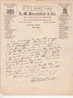 Etats Unis Facture Lettre Illustrée KIRSCHFELD Co Pour GILBEYB Wine Importer Champagne Duval, Mansard NEW YORK - Etats-Unis