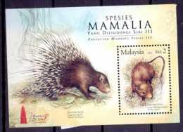 2005 Malaysia - Protected Animals Of Malaysia - Porcupine Trichys Lipura-Taipei 2005 MS MNH** MI 99I - Malaysia (1964-...)