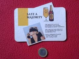 POSAVASOS RARE COASTER MAT O SIMILAR TROQUELADO SATZENBRAU PILS STRONG IN ALCOHOL BEER ? CERVEZA ? WOMAN GIRL MUJER VER - Beer Mats